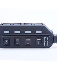 Portable High Speed 4.8Gbps USB 3.0 4-Port Hub with Switch / Indicator