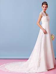 A-Line Queen Anne Chapel Train Lace Satin Wedding Dress with Lace by LAN TING BRIDE®