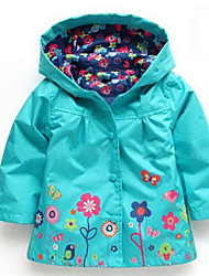 cheap -Girls' Floral Down & Cotton Padded, Cotton Winter Long Sleeves Floral Cartoon Purple Emerald Green Pink