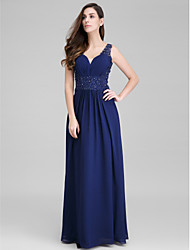 cheap -Sheath / Column Sweetheart Floor Length Chiffon Prom Formal Evening Dress with Appliques Side Draping by TS Couture®