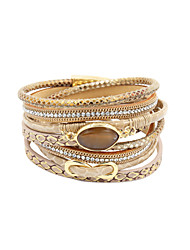 cheap -Women's Leather Rhinestone Imitation Diamond Infinity Wrap Bracelet - Personalized Luxury Multi Layer Handmade Circle Infinity Gray Green