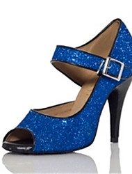 cheap -Women's Dance Shoes Latin / Jazz / Swing Shoes / Salsa / Samba Sparkling Glitter Black / Blue / Customizable
