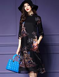 Evasê Vestido,Casual / Tamanhos Grandes Vintage Estampado Colarinho Chinês Médio Manga ¾ Preto Poliéster Primavera Cintura MédiaSem