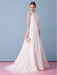 A-Line Jewel Neck Sweep / Brush Train Chiffon Lace Wedding Dress with Lace Draped by LAN TING BRIDE®
