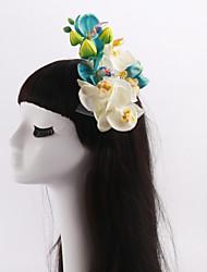 economico -copricapo di fiori in tessuto di tulle festa nuziale elegante stile femminile