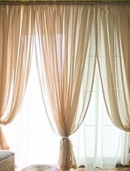 Недорогие -2 шторы Окно Лечение Modern , Однотонный Спальня Полиэфирно-льняная смешанная ткань материал Занавески Оттенки Украшение дома For Окно