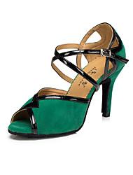 cheap -Women's Latin Suede Heel Indoor Buckle High Heel Black Red Green Customizable