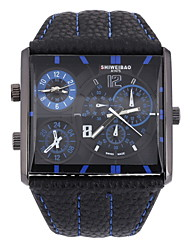 cheap -Men's Wrist watch Quartz Dual Time Zones Leather Band Charm Black Brown