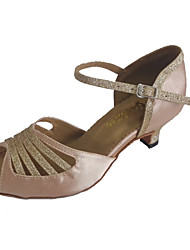 cheap -Women's Latin Salsa Sparkling Glitter Satin Sandal Indoor Performance Professional Beginner Practice Customized Heel Black Beige