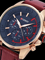 cheap -CURREN Men's Quartz Japanese Quartz Wrist Watch Military Watch Hot Sale Leather Band Luxury Black Brown Grey