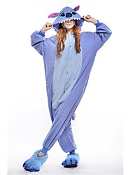 kigurumi Pyjamas Monster Costume Bleu Polaire Kigurumi Collant / Combinaison Cosplay Fête / Célébration Pyjamas Animale Halloween Mosaïque