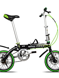 Dequilon K8 14 inch mini folding bike double disc brakes bicycle Ultraportability single speed black