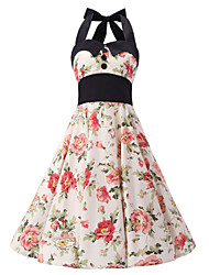 cheap -Women's Bow Cream Floral Dress , Black Collars Big Buttons Vintage Halter 50s Rockabilly Swing Dress
