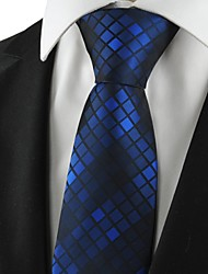cheap -Checked Pattern Navy Mens Tie Formal Suits Necktie Wedding Holiday Gift KT1061