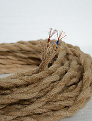 (50m/lot)2*0.75 antique double braided hemp rope electrical wire Vintage pendant light cord knitted lights accessories