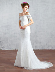 cheap -Trumpet / Mermaid Wedding Dress Court Train Bateau Lace / Tulle with Beading / Lace
