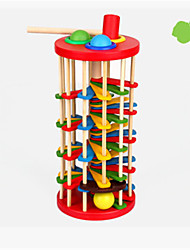 cheap -Children's Wooden Color Knock Ball Fall Ladder Baby Color Cognitive 2-3-5 Years Old