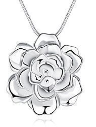 Women's Pendant Necklaces Roses Flower Silver Plated Fashion Jewelry For Party Daily Casual