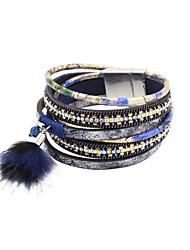 Dame Wrap Armbånd Læder Armbånd luksus smykker Læder Rhinsten Imitation Diamond Legering Blå Smykker ForBryllup Fest Daglig Afslappet