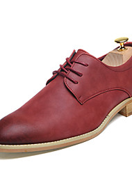 cheap -Men's Shoes Leather Spring Fall Bootie Comfort Oxfords Walking Shoes Lace-up for Wedding Casual Party & Evening Black Red Dark Brown