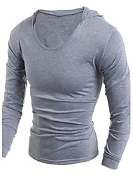 cheap -Men's Daily Sports Casual T-shirt,Solid Hooded Long Sleeves Cotton Polyester