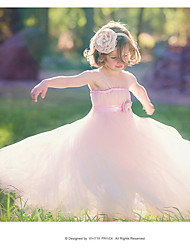 cheap -Ball Gown Floor Length Flower Girl Dress - Cotton / Rayon / Satin Sleeveless Spaghetti Strap with Bow(s) / Sash / Ribbon / Flower by