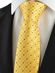 New Graphic Golden Yellow Men Tie Suit Necktie Wedding Party Holiday Gift KT1035