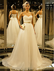 cheap -A-Line Straps Chapel Train Organza Wedding Dress with Beading Button Draped by LAN TING BRIDE®