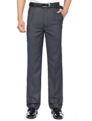 cheap -Men's Cotton Suits Straight Slim Pants - Solid Colored