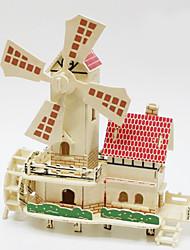 Недорогие -3D пазлы Деревянные пазлы Деревянные игрушки Ветряная мельница Дерево Мальчики Девочки Игрушки Подарок