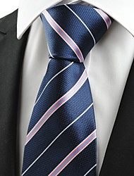 KissTies Men's Pink White Striped Navy Blue Microfiber Tie Necktie For Wedding Party Holiday With Gift Box