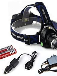 cheap -HP79 Headlamps Headlight LED 2000 lm 3 Mode Cree T6 with Batteries and Chargers Zoomable Adjustable Focus Impact Resistant Rechargeable
