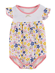 cheap -Girls' Clothing Set, Cotton Spring Summer Short Sleeves Floral Pink