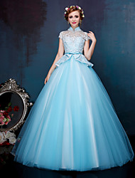 cheap -Ball Gown Princess Illusion Neckline Floor Length Lace Tulle Formal Evening Dress with Beading Appliques Bow(s) Crystal Detailing