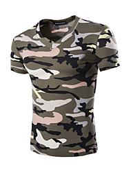 Men's Fashion Camouflage V Collar Slim Fit Short Sleeve T-Shirt, Cotton /Polyester