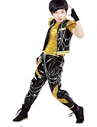 Jazz Kid's PU Sequin 3 Pieces Short Sleeve Coat Vest Pants