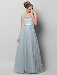 cheap -A-Line Strapless Floor Length Lace / Tulle Open Back Prom / Formal Evening Dress with Draping / Lace by TS Couture®