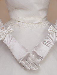 Elbow Length Fingertips Glove Satin Lace Bridal Gloves Party/ Evening Gloves Bow lace