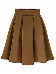 cheap -Women's Solid Red / Black / Brown Skirts,Vintage / Work Above Knee