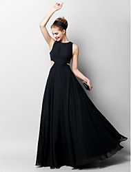 cheap -A-Line Jewel Neck Floor Length Chiffon Cut Out Formal Evening Dress with Pleats by TS Couture®