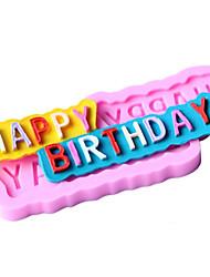 happy birthday bolo fondant em forma de chocolate do molde de silicone, ferramentas de decoração bakeware