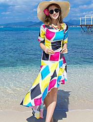 お買い得  -女性用 ボヘミアン シフォン ドレス - モダンスタイル, 幾何学模様 ミディ