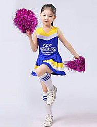 cheap -Cheerleader Costumes Outfits Performance Polyester Ruffles Sleeveless High Top Skirt