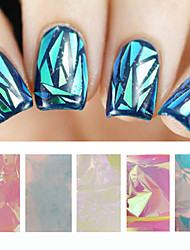 cheap -5pcs Holographic Shiny Laser Nail Art Foils Paper Candy Colors Glitter Glass Nail Sticker Decorations