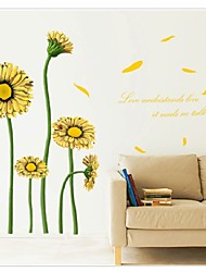cheap -The New Warm Living Room Bedroom Backdrop Sunflower Flowers Wall Stickers Wallpaper Waterproof Removable