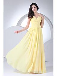 Недорогие -оболочка / колонка v-образным вырезом длина шифона платье невесты с боковым драпированием xfls