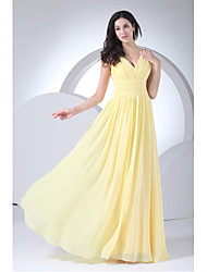 cheap -Sheath / Column V-neck Floor Length Chiffon Bridesmaid Dress with Side Drapingby XFLS