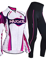 cheap -Nuckily Men's / Women's Long Sleeve Cycling Jersey with Tights - Purple Geometic / Floral / Botanical Bike Clothing Suit, Windproof, Thermal / Warm, Anatomic Design Polyester, Spandex, Fleece