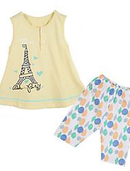 Mädchen Kleidungs Set Baumwolle Sommer / Frühling Gelb