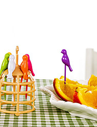 6 Pcs Cartoon Bird Design Fruit Fork Creative Cooking Tools Home Decoration